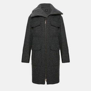 Theory Charcoal Wool Twill Military Coat